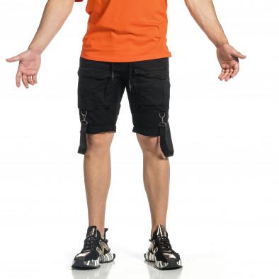 Мъжки черни къси панталони Cargo Hip Hop it150521-30 4
