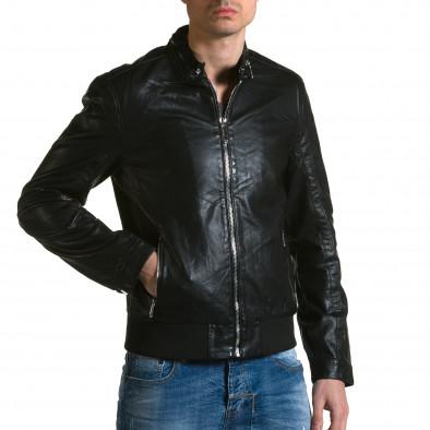 Мъжко черно кожено яке с копчета на яката ca190116-34 4