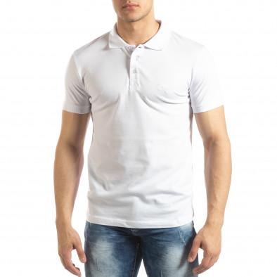 Фина мъжка тениска Polo shirt в бяло it150419-97 2