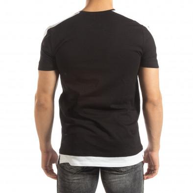 Черна мъжка тениска с бяло удължение it150419-83 4