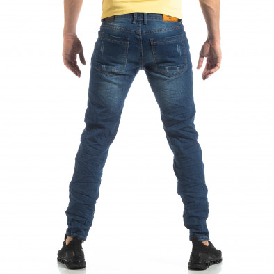 Намачкани сини дънки с принт кръпки it210319-8 4