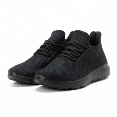 Мъжки леки маратонки All black с декорация it140918-16 3