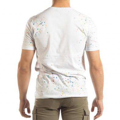 Бяла мъжка тениска с пръски боя it150419-88 3