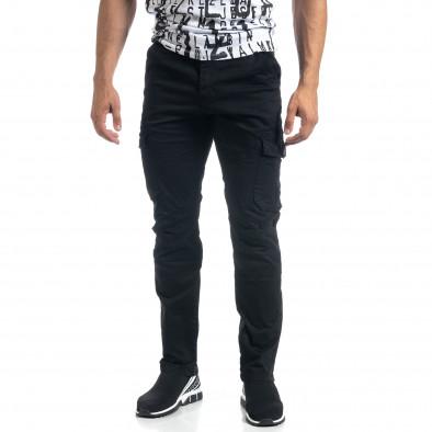 Мъжки черен карго панталон с прави крачоли it041019-44 3