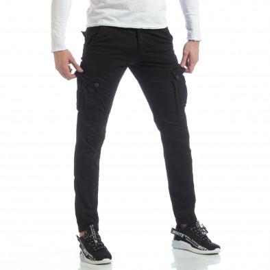 Черен мъжки панталон с карго джобове it040219-40 4