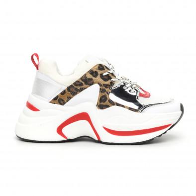Дамски обемни маратонки бяло и леопард it130819-83 2