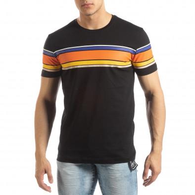 Мъжка черна тениска с цветни райета it150419-53 2