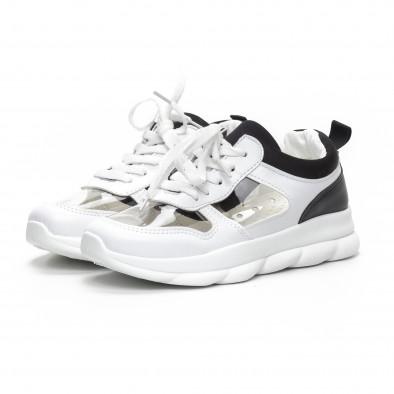 Дамски маратонки с прозрачни части в бяло и черно it240419-56 3