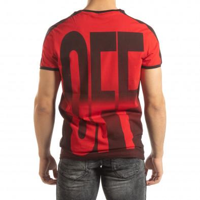 Червена мъжка тениска ON/OFF с преливане it150419-51 3
