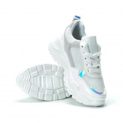 Бели дамски маратонки с обемна подметка it250119-37 4