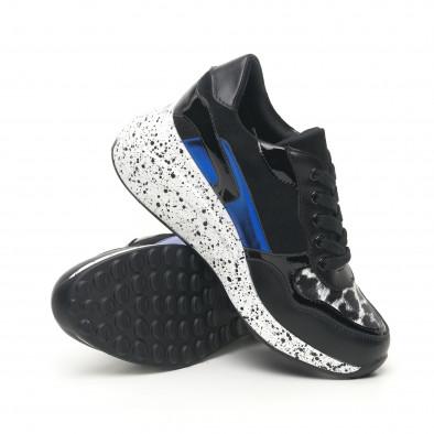 Дамски черни маратонки с лачени и сини детайли it281019-14 5
