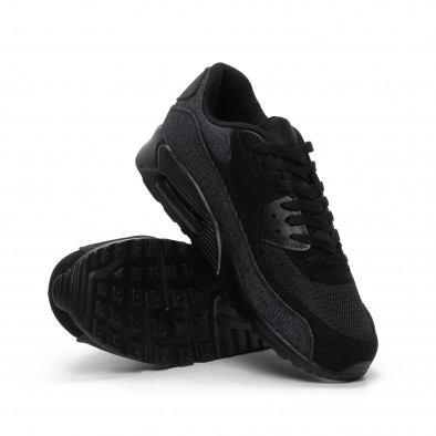 All black мъжки маратонки черен деним it240419-17 4