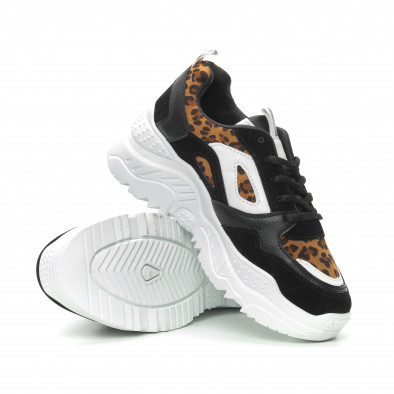 Комбинирани Chunky маратонки в черно и леопард it150319-62 4