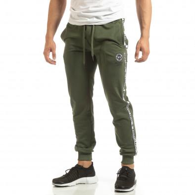 Мъжко долнище в зелено с лого кантове it090519-21 2