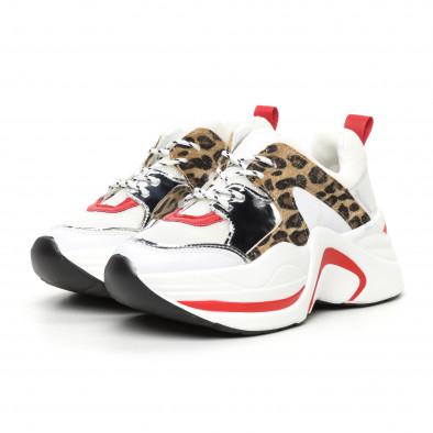 Дамски обемни маратонки бяло и леопард it130819-83 3