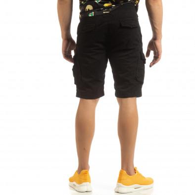 Мъжки черни карго бермуди с ластик на колана it090519-31 3