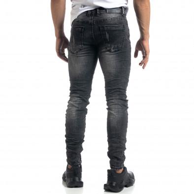 Изтъркани мъжки сиви дънки с прокъсвания Slim fit it041019-28 3