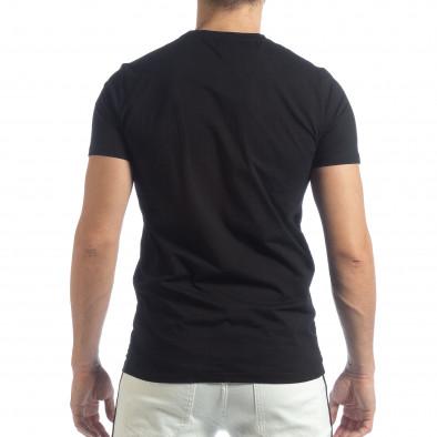 Мъжка черна тениска с кант и бродерия it040219-116 4