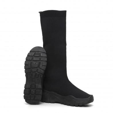Дамски черни ботуши тип чорап it260919-65 4