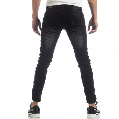 Черни мъжки дънки с принт кръпки it040219-24 4