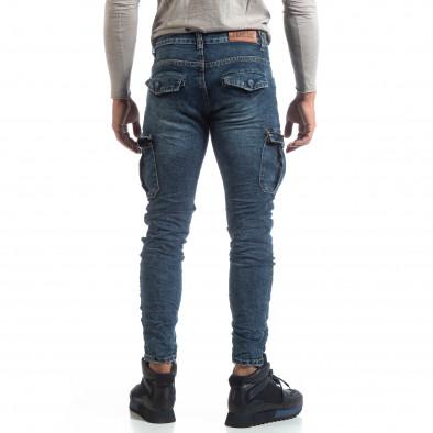 Мъжки сини Cargo Jeans рокерски стил it170819-54 4