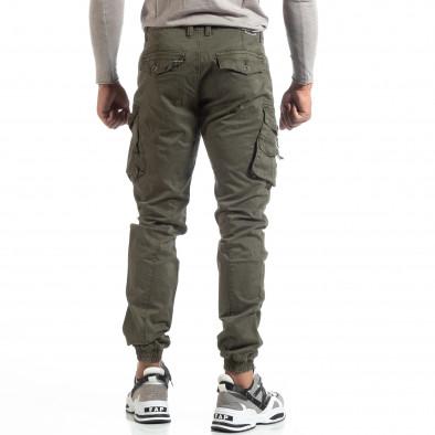 Зелен мъжки панталон с ципове на джобовете it170819-3 4