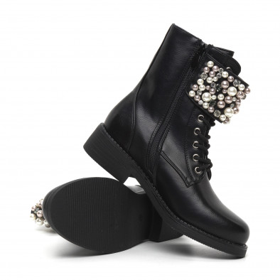 Дамски черни боти с перли и камъни it260919-70 4