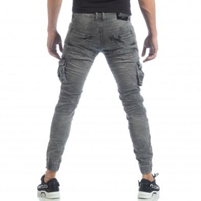 Рокерски мъжки Cargo Jeans в сиво it040219-16 4