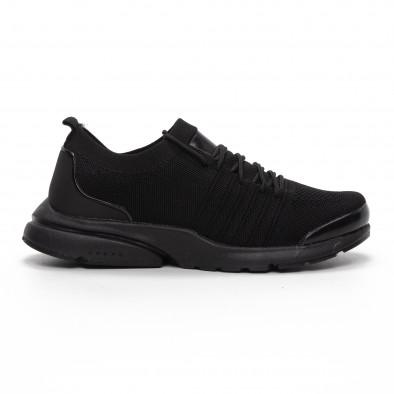 Леки мъжки маратонки тип чорап в черно it240419-23 2