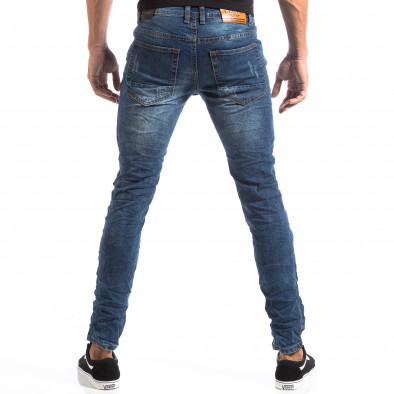 Мъжки сини Slim Jeans с апликации и кръпки it260918-1 5