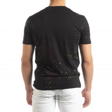Черна мъжка тениска с пръски боя it150419-89 3