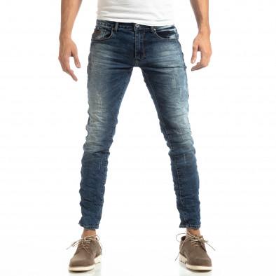 Намачкани мъжки дънки в синьо Slim fit it261018-7 3