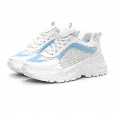 Дамски Chunky маратонки в бяло и синьо it240419-45 3