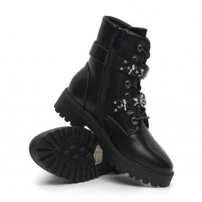 Дамски черни боти с декорирани каишки it260919-84 4