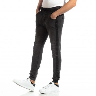 Рокерски мъжки Jogger в цвят черен деним it261018-48 2