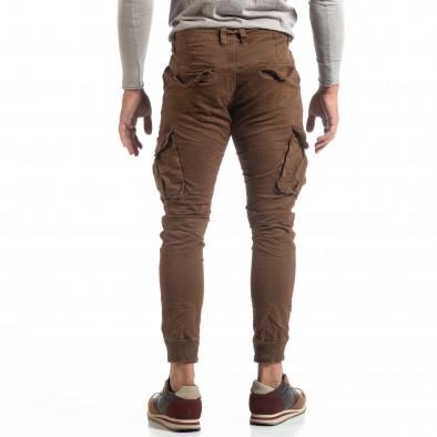Мъжки намачкан панталон Cargo в цвят кафе it170819-18 4
