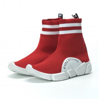 Червени дамски маратонки тип чорап с акценти it250119-58 5