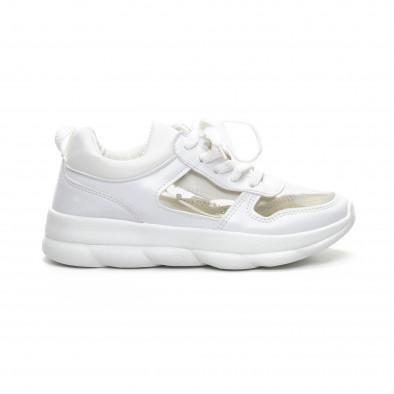 Бели дамски маратонки с прозрачни части it240419-55 2