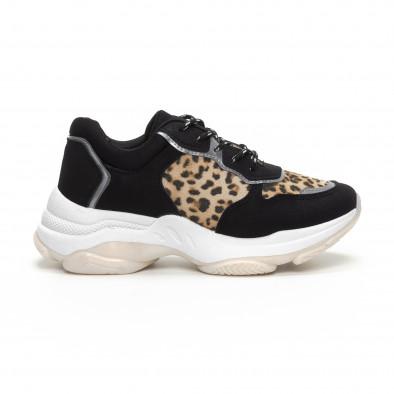 Chunky дамски маратонки в черно и леопард it240419-42 2