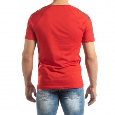 Червена мъжка тениска с реглан ръкав it150419-79 4
