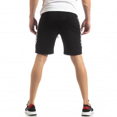 Черни мъжки шорти с ивици it210319-60 4