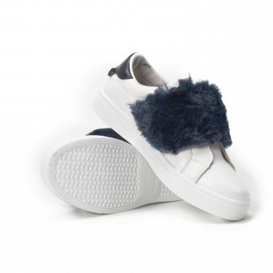 Дамски бели Slip-on маратонки със сини акценти it150818-55 4