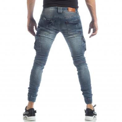 Рокерски мъжки Cargo Jeans в синьо it040219-17 4