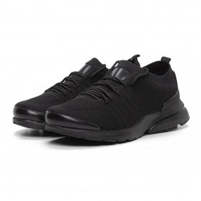 Леки мъжки маратонки тип чорап в черно it240419-23 3