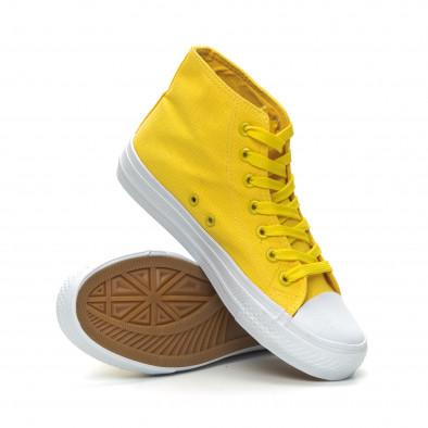 Basic дамски жълти високи кецове  it150319-32 4