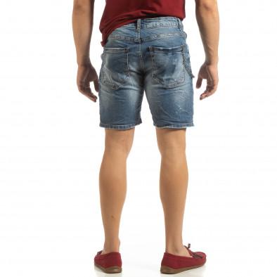 Прокъсани мъжки къси дънки с броеница it090519-43 4