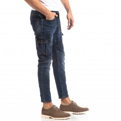 Рокерски мъжки Cargo Jeans в синьо it261018-11 2