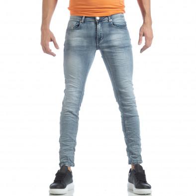 Мъжки Washed Slim Jeans в синьо it040219-13 3