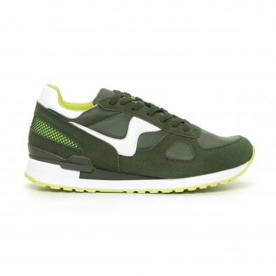 Комбинирани мъжки маратонки в зелени нюанси it130819-9 2
