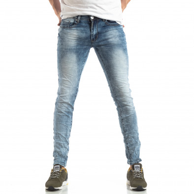 Мъжки Washed Slim Jeans в синьо it210319-14 2
